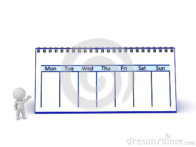 3D Character Showing Large Week Calendar Stock Photo