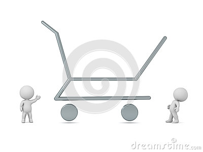 3D Characters and Large Empty Shopping Cart Stock Photo