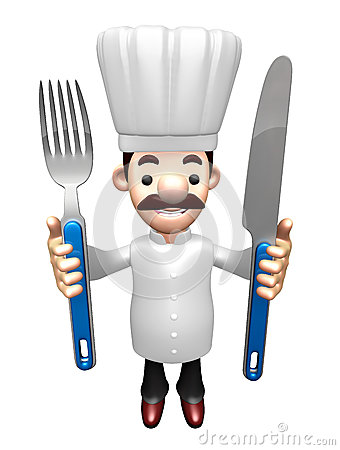 3d chef grasp a knife and fork in both hands stock photo for Character designer job