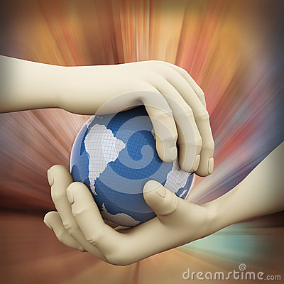 3d closeup of hand globe illustration