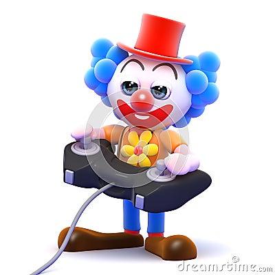3d Clown plays a videogame