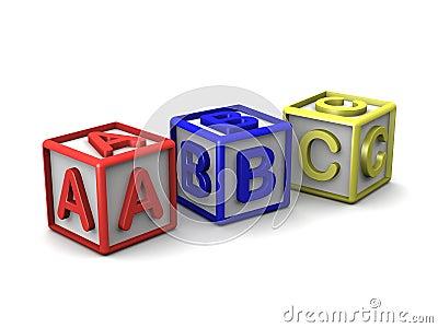 A B C Letters Cubes