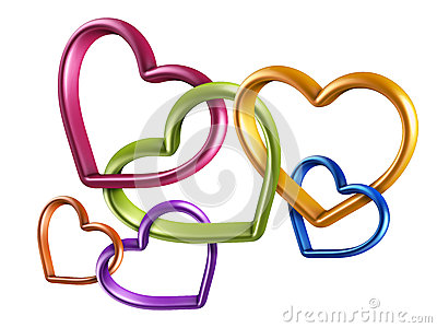 3d Colorful Hearts Linked Together Into Chain Stock Photos ...