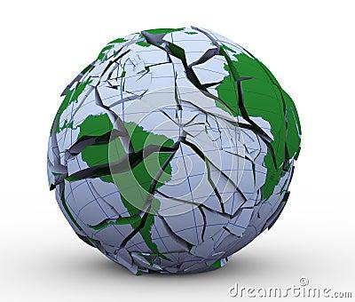 3d cracked globe earth world