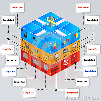 3d cube with icons for business concepts