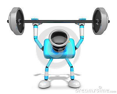 3D Cyan Camera character a Barbell Shoulders Press Exercise. Cre