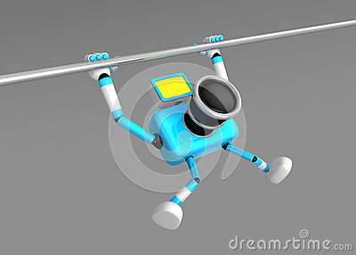 3D Cyan Camera character is doing a vigorous pullup.