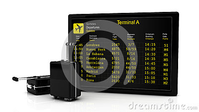 3d Departures information board flights along and suitcases