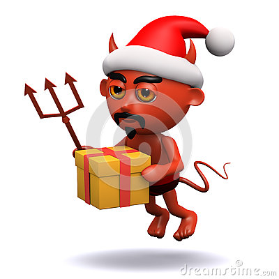 Of a devil wearing a santa claus hat and carrying a christmas gift