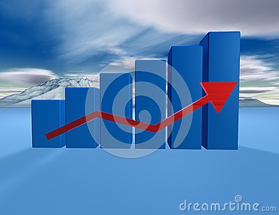 3d dimentional blue graph with cloudscape