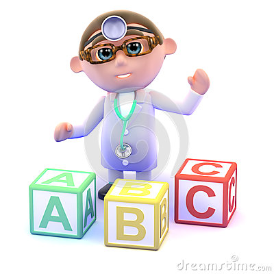 3d Doctor with alphabet blocks