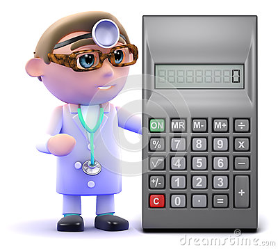 3d Doctor calculates with a calculator