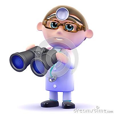3d Doctor looks through binoculars