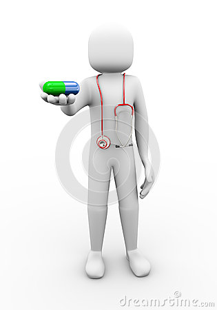3d doctor with stethoscope offering pill illustration