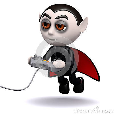 3d Dracula plays videogames