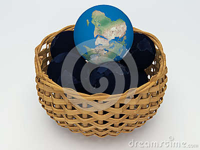 3D Earth and black Earth