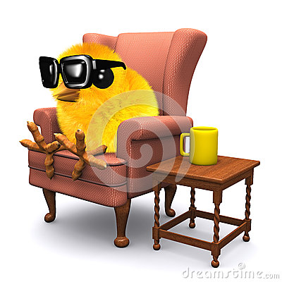 3d easter chick has a tea break stock illustration image for Sitting easy chairs