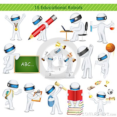 3d education student in fully scalable vector Vector Illustration