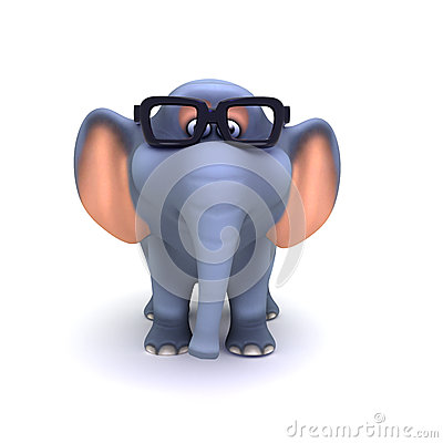 3d Elephant in glasses