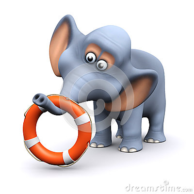 3d Elephant with life ring