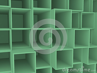 3d empty square box shelf, background Stock Photo