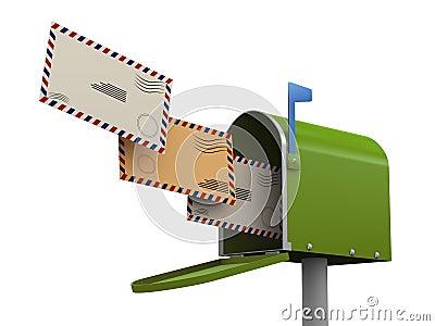 3d enveloppen die in brievenbus gaan