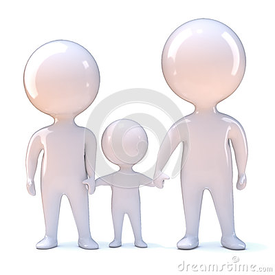 3d Family holding hands