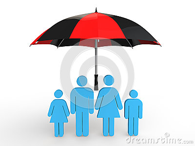 3d family under umbrella Stock Photo
