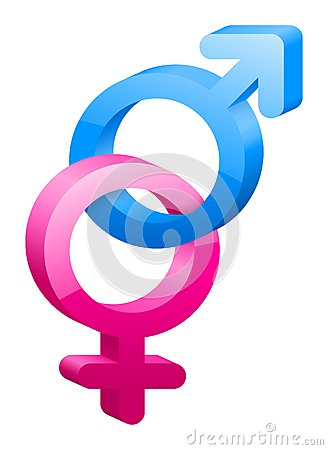 3D female and male sex symbol