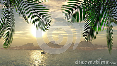3D female sunbathing on a yacht in the ocean Stock Photo