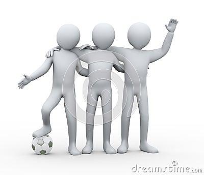3d football players friendship