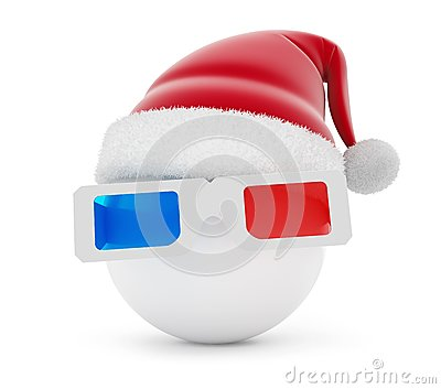 3d glasses ball santa hat