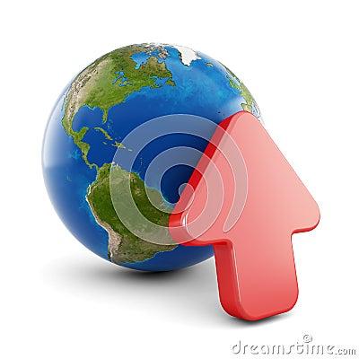 3d globe icon - upload.