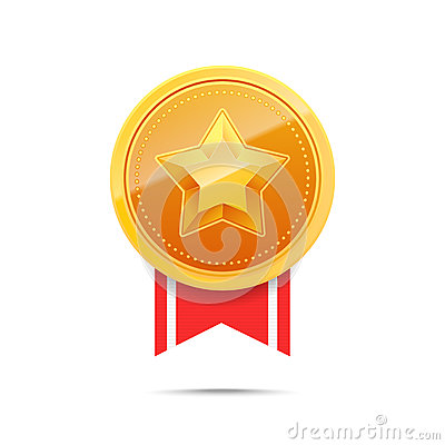3D Gold medal and red ribbon. Vector Illustration