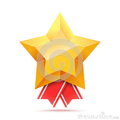 3D Gold star medal and red ribbon. Vector Illustration