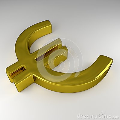 3D Golden Euro Sign