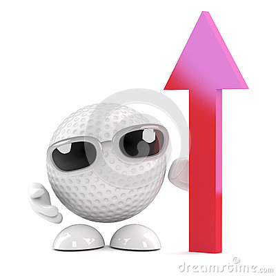 3d Golf ball with arrow pointing upwards