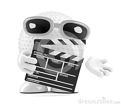 3d Golf ball with clapperboard