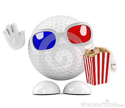 3d Golf ball eating popcorn at the 3d movie
