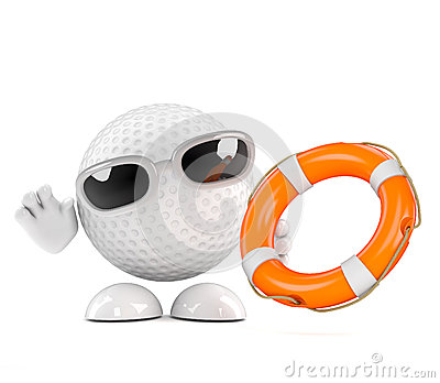 3d Golf ball with life belt