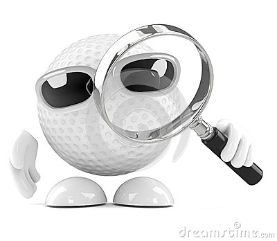 3d Golf ball with magnifying glass