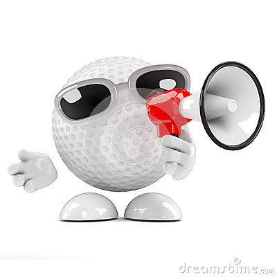 3d Golf ball with megaphone