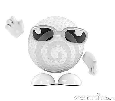 3d Golf ball waves hello