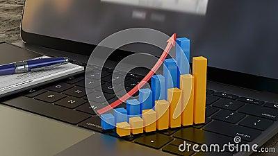 3D gráfico financiero cada vez mayor en el teclado del ordenador portátil, estadísticas financieras, analytics almacen de video