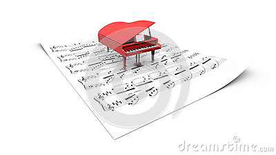 3D grand piano model on a partition sheet
