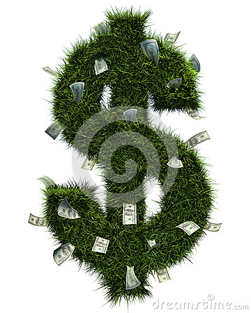 3D grass dollar shape