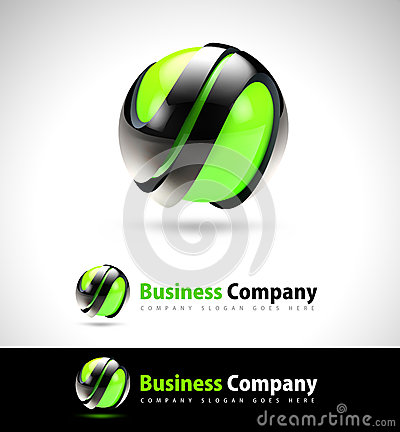 3D Green Business Logo
