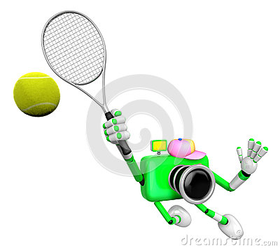 3D Green Camera character is a powerful tennis game play exercises