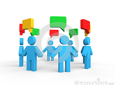 3d group discussion concept Stock Photo