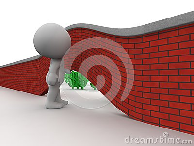 3D Man Looking under wall to money on other side
